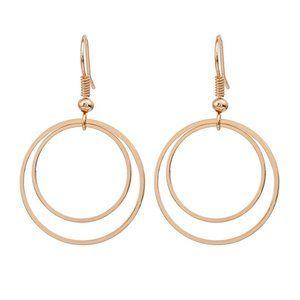 Boho Festival Gold Double Circle Earrings
